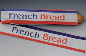 """4-1/2"""" x 2-1/2"""" x 24"""" White Paper Bread Bag Printed with """"French Bread"""" - (30 lb.)"""