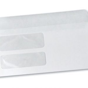 "4-3/16"" x 9"" Gummed Flap Business Envelope with Double Window - White (24 lb.)"