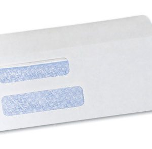 "3-5/8"" x 8-5/8"" Gummed Flap Security Tinted Business Envelope with Double Window #8-5/8 - White (24 lb.)"