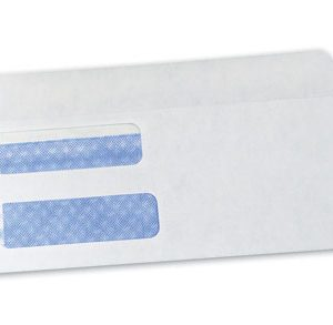 "3-5/8"" x 8-7/8"" Gummed Flap Security Tinted Business Envelope with Double Window - White (24 lb.)"