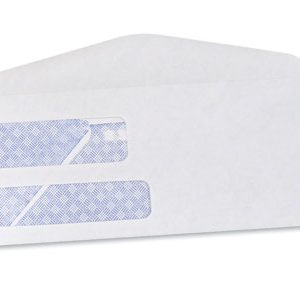 "3-7/8"" x 8-7/8"" Gummed Flap Security Tinted Business Envelope with Double Window #9 - White (24 lb.)"