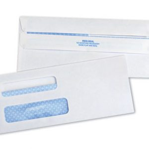 "3-5/8"" x 8-5/8"" Self-Sealing Security Business Envelope with Double Window #8-5/8 - White (24 lb.)"