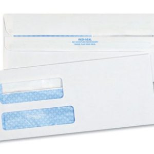 "3-7/8"" x 8-7/8"" Self-Sealing Security Business Envelope with Double Window #9 - White (24 lb.)"