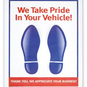 """17"""" x 22"""" Heavy-Duty Paper Automotive Floor Mats with Printed Message (80 lb.)"""
