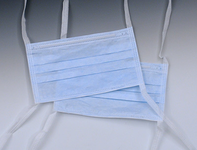 Medline Latex-Free Pleated Surgical Face Mask with Ties - Blue