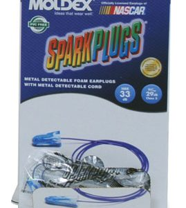 Moldex® Sparkplugs® Earplugs in PlugStation® Dispenser Box - Metal Detectable Corded (100 Pairs per Dispenser)