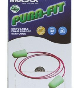 Moldex® Pura-Fit® Earplugs in a Dispenser Box- Corded (100 Pairs per Dispenser)