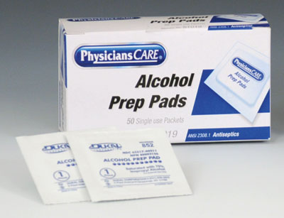 "1-3/16"" x 2-3/8"" PhysiciansCare® Alcohol Pads - Individually Wrapped"
