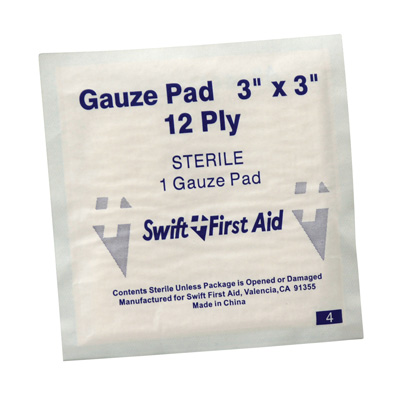 """3"""" x 3"""" First Aid Sterile Gauze Pads"""