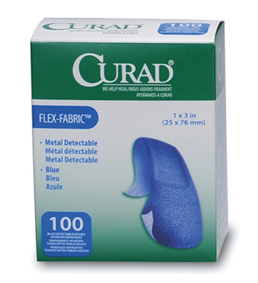 "1"" x 3"" Curad® Flex-Fabric™ Metal Detectable Strip Bandages - Blue"