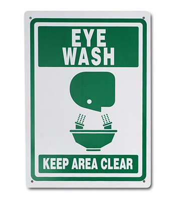 "7"" x 10"" High Performance Plastic Eye Wash Sign (60 mil)"