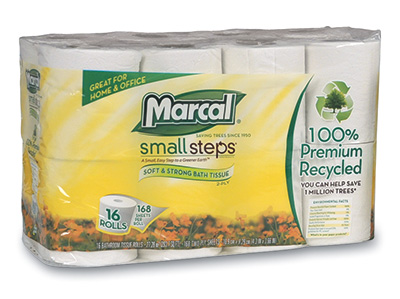 Marcal Small Steps Bathroom Tissue - (2-Ply) 168 Sheets per Roll (16 Rolls) - AB-310-1-05