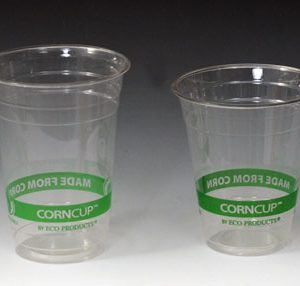 16 oz. Compostable PLA Cold Beverage Cup - Green Stripe (Clear) (2 Boxes - 50 Cups per Box) - AB-310-4-108
