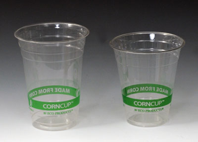 24 oz. Compostable PLA Cold Beverage Cup - Green Stripe (Clear) (2 Boxes - 50 Cups per Box) - AB-310-4-116
