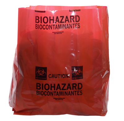 """15"""" x 9"""" x 23"""" Biohazard Message Extra-Strength Low Density Gusseted Liner - Red (4 mil)"""