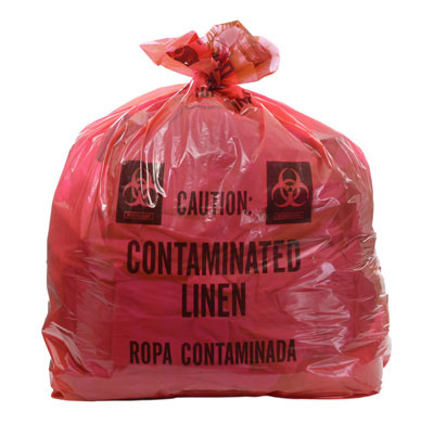 """20"""" x 13"""" x 39"""" Contaminated Linens Low Density Gusseted Liner - Red (1.5 mil)"""