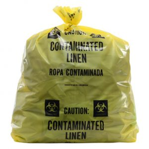 "20"" x 13"" x 39"" Contaminated Linens Low Density Gusseted Liner - Yellow (1.5 mil)"