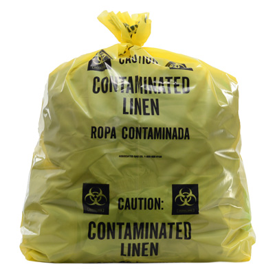 """20"""" x 13"""" x 39"""" Contaminated Linens Low Density Gusseted Liner - Yellow (1.5 mil)"""