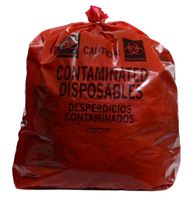 """15"""" x 9"""" x 32"""" Contaminated Disposables Low Density Gusseted Liner - Red (1.5 mil)"""