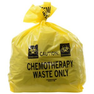 "20"" x 13"" x 39"" Chemotherapy Waste Low Density Gusseted Liner - Yellow (4 mil)"