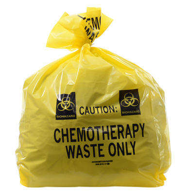 """20"""" x 13"""" x 39"""" Chemotherapy Waste Low Density Gusseted Liner - Yellow (4 mil)"""