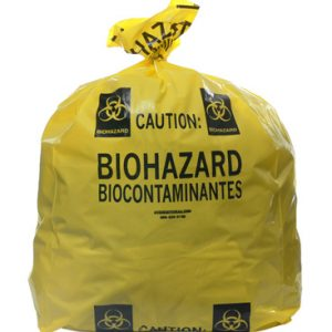 "20"" x 13"" x 40"" Biohazard Message Low Density Gusseted Liner -Yellow (4 mil)"
