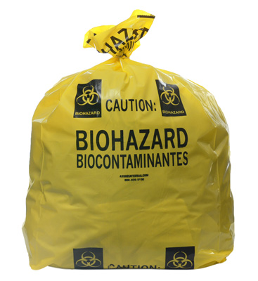 """20"""" x 13"""" x 40"""" Biohazard Message Low Density Gusseted Liner -Yellow (4 mil)"""