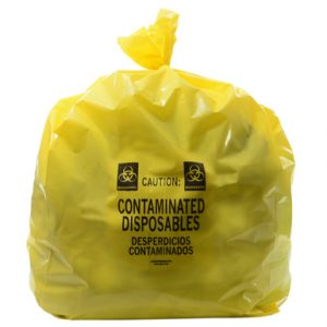 "16"" x 14"" x 36"" Contaminated Disposables Low Density Gusseted Liner - Yellow (4 mil)"