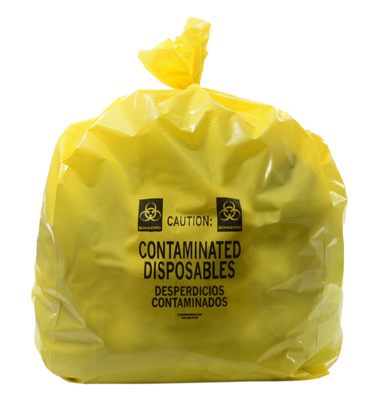 """16"""" x 14"""" x 36"""" Contaminated Disposables Low Density Gusseted Liner - Yellow (4 mil)"""