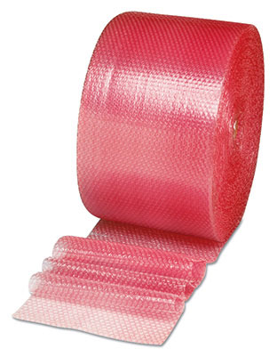 "12"" x 250' Sealed Air® Anti-Static Multi-Purpose Grade Bubble Wrap® Brand Cushioning - Pink Tinted (1/2"")"