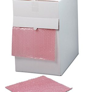 """12"""" x 175' Sealed Air® Anti-Static Strong Grade Bubble Wrap® Brand Cushioning in a Dispenser Box - Pink Tinted (3/16"""")"""