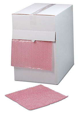 "12"" x 175' Sealed Air® Anti-Static Strong Grade Bubble Wrap® Brand Cushioning in a Dispenser Box - Pink Tinted (3/16"")"