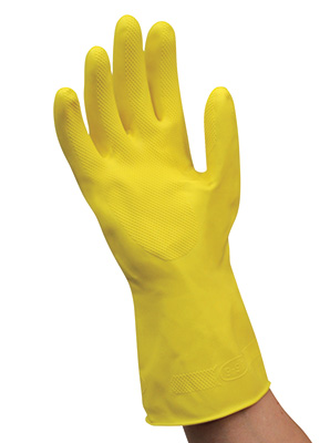 """12"""" Yellow Flock-Lined Latex Chemical Resistant Gloves - Small (20 Mil)"""