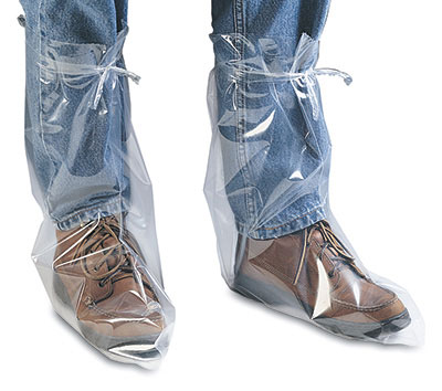 Clear Poly Boots with Tie Strip - Large - Fits up to Size 10