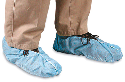 Latex-Free Disposable Poly Shoe Covers - Non-Skid (Fits up to size 13)