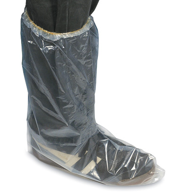 Fluid Impervious Poly Boot Covers with Elastic Opening - X-Large (5 Mil)