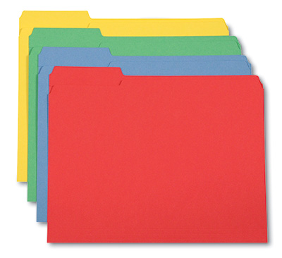 Paper File Folders - 11 PT. - 1/3 Tab 2-Ply (Letter Size) - Assorted Colors
