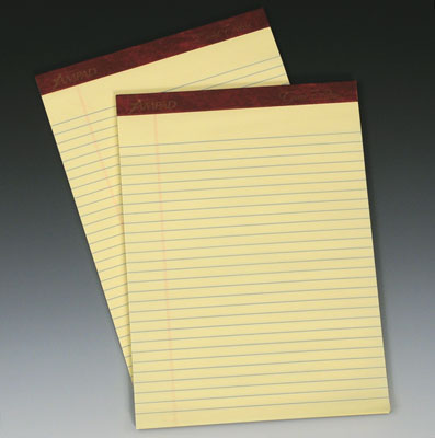 "5"" x 8"" Ampad® Ruled Paper Pads- Yellow (50 Sheets per Pad)"