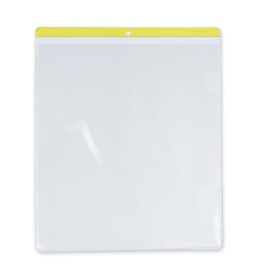 "4"" x 6"" Short-Side Opening Vinyl Envelopes with Yellow Header & Hang Hole (7.5 Gauge)"