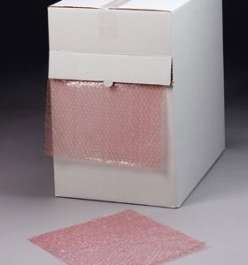 "12"" x 175' Sealed Air® Anti-Static Multi-Purpose Grade Bubble Wrap® Cushioning in a Dispenser Box - Pink Tinted (3/16"")"