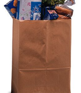 "9-3/4"" x 6"" x 16-1/2"" Kraft Carry Paper Bag (52 lb.) (500 per sleeve)"