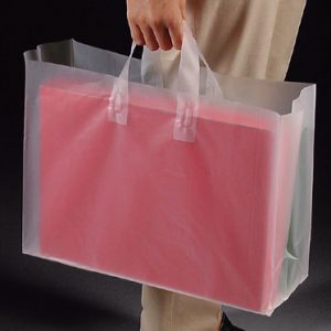 "12-1/2"" x 6-1/4"" x 15-1/2"" High Density Poly Tote Bag with Handles + 3-1/4"" Bottom Gusset - Frosted (3 mil) (250 per carton)"