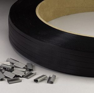 "1/2"" x 9000' Hand Grade Polypropylene Strapping with 16"" x 6"" Core - Black (300 lb. Tensile Strength/.018"" Thickness)"