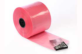 "4"" X 750'  4 Mil Pink Anti-Static Poly Tubing"