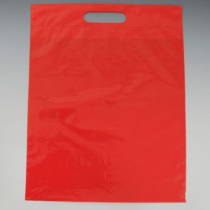 "11"" x 12"" Poly Tote Bag with Die-Cut Handle - Red (1.25 mil) (1000 per carton)"