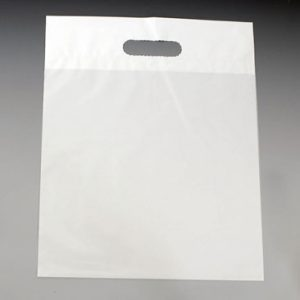 "11"" x 12"" Poly Tote Bag with Die-Cut Handle - White (1.25 mil) (1000 per carton)"