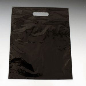 "12"" x 15"" Poly Tote Bag with Die-Cut Handle + 3"" Bottom Gusset - Black (1.5 mil) (500 per carton)"