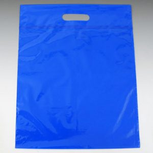 "16"" x 19"" Poly Tote Bag with Die-Cut Handle + 3"" Bottom Gusset - Blue (2 mil) (500 per carton)"