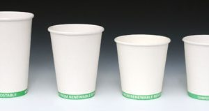 16 oz. Compostable Hot Beverage Paper Cup - Green Stripe (2 Boxes - 50 Cups per Box)