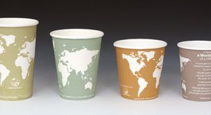 16 oz. Compostable Hot Beverage Paper Cup - World Art (2 Boxes - 50 Cups per Box)